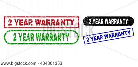 2 Year Warranty Grunge Seal Stamps. Flat Vector Scratched Watermarks With 2 Year Warranty Message In