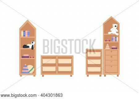 Nursery Furniture Flat Color Vector Object Set. Children Bookshelves With Toys And Books. Kindergart