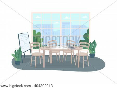 Conference Office Room 2d Vector Web Banner, Poster. Marketing Strategy Planning. Workplace Interior