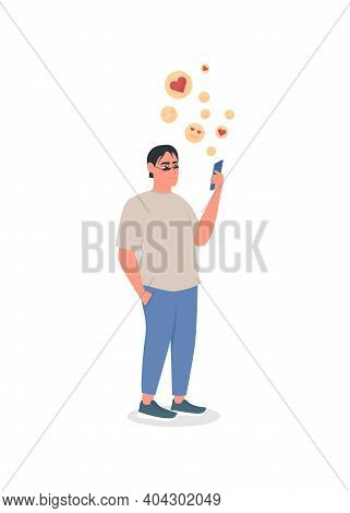 Social Media Obsessed Flat Color Vector Detailed Character. Man With Smartphone Addiction. Online Ap