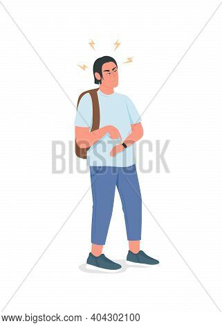 Irritated Man Waiting Flat Color Vector Detailed Character. Angry Guy With Watch. Annoyed Person. Ba