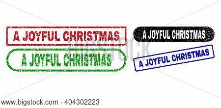 A Joyful Christmas Grunge Seal Stamps. Flat Vector Textured Stamps With A Joyful Christmas Tag Insid