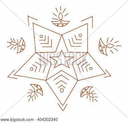 Drawing Or Sketch Of Colorful Lotus Mandala Or Rangoli Outline Editable Illustration