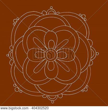 Sketch Of Colorful Lotus Mandala Or Rangoli Outline Editable Illustration