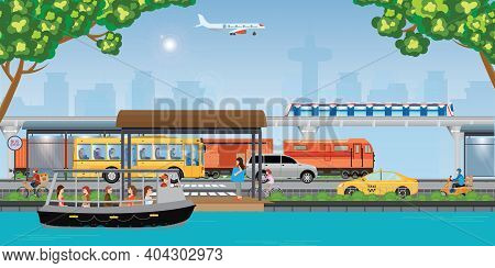 Transport In A Modern City. Integrated Transport Strategy.traffic Info Graphics Design Elements With