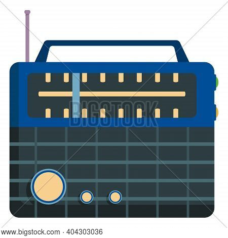 Blue Retro Radio. Outdated Equipment In Cartoon Style.