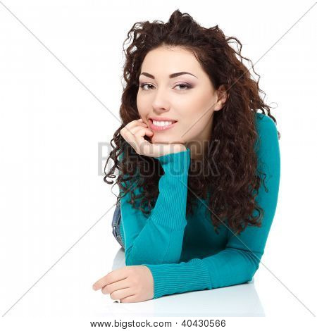 young beautiful cheerful woman looking at camera and smiling over white background