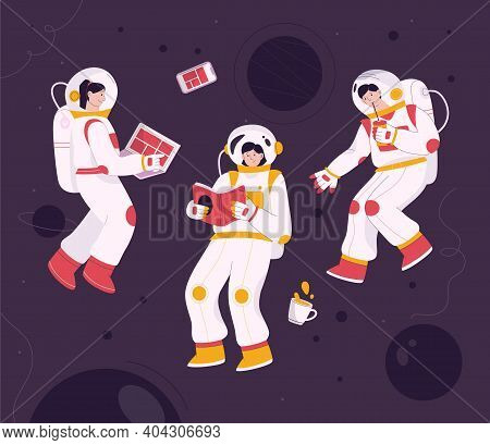 Astronauts Flying In Zero Gravity At Space
