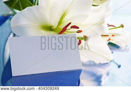 Spring background. Spring lily flower, Lilium Navona, with white blank card, spring composition in soft tones, spring card, colorful spring backgorund, lily spring flower, spring design. Spring background with spring lily flower