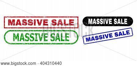 Massive Sale Grunge Stamps. Flat Vector Grunge Stamps With Massive Sale Message Inside Different Rec