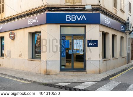 Campos, Spain; January 20 2021: Main Facade Of The Bbva Bank Office (banco Bilbao Vizcaya) On A Sunn