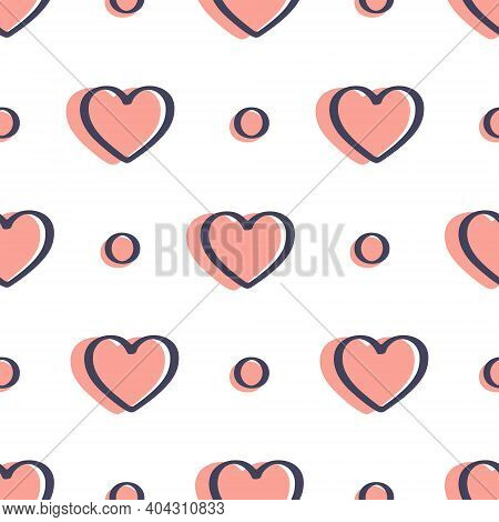 Seamless Pattern With Hearts And Simple Elements Is On White Background. Illustration For A Cover, A