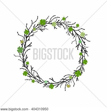 Clover Garland With Wreath From Black Branches And Twigs On White Background. St Patrick Day Greetin