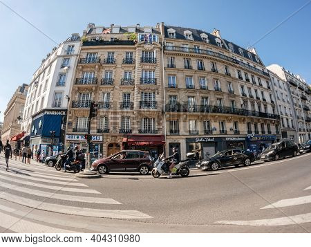 Paris, France - May 20, 2018: Ultra Wide Angle View Of French Haussmannian Building On Rue De Dunker