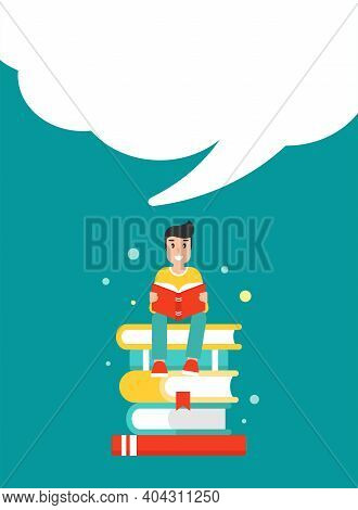 Happy Guy With Stack Of Books And Speech Bubble. Creative Study, Education, School. Man Giving Advic