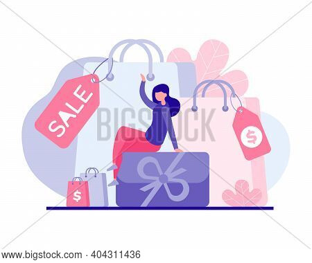 Favorable Shopping For Holiday Discount Vector Flat Concept. Female Character Sitting On Gift Box Su