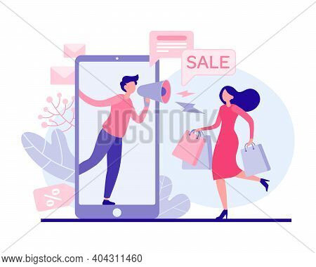 Woman Rushing To Holiday Sale Vector Flat Illustration. Female Character With Bags Runs Store For Pr