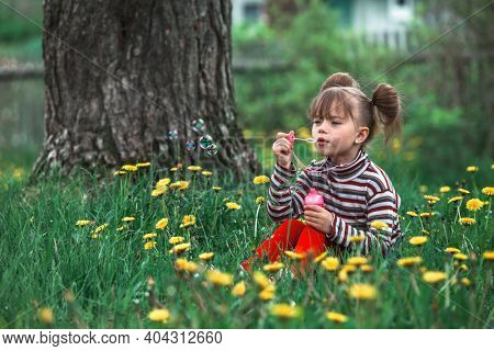 Little girl blowing soap bubbles in the green summer park.