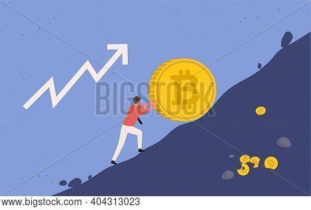 Bitcoin Upward Growth. Miner Lifts Up A Big Bitcoin Coin Uphill, Upward Trend Concept. Crypto Curren