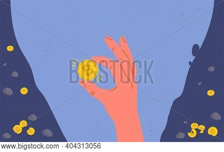Glowing Bitcoin Coin In Miners Hand. Flat Cartoon Illustration
