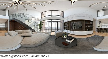 360 panorana of empty modern interior room 3 D rendering
