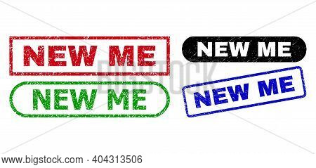 New Me Grunge Seal Stamps. Flat Vector Textured Seal Stamps With New Me Text Inside Different Rectan
