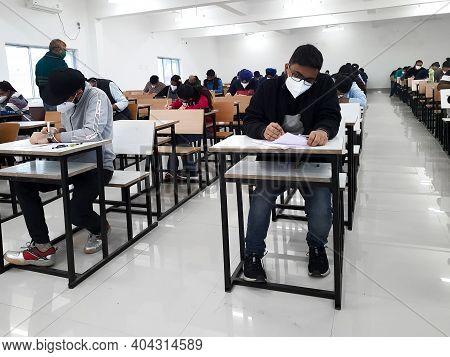 December 8, 2020.lucknow Uttar Pradesh,india. West Bengal India. Medical Students Writing Examinatio