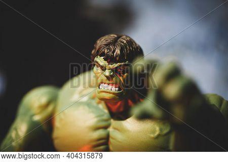 JAN 20 2021: portrait of Marvel Legends Incredible Hulk enraged - Hasbro action figure
