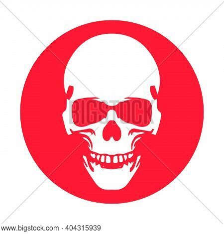 Anatomically Correct Human Skull. Death Skull Or Human Skull  For Games And Websites. Flat Icon