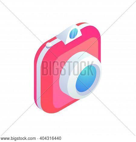 Instant Camera Trendy Isometric Icon Isolated On White Background. 3d Photo Camera, Snapshot Photogr