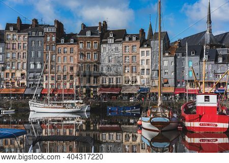Honfleur, Calvados, Normandy, France - 3 November 2019: Famous French Town In Normandy, France