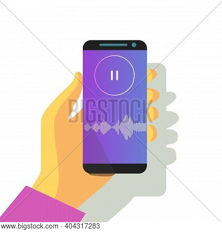 Mobile Phone In Hand Sound Waveform Pattern For Music Player, Podcasts, Video Editor, Voise Message