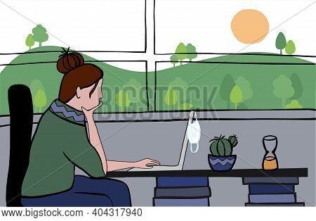 Young Woman Using Laptop At Home Against Window With Green Spring Landscape And Good Weather . Stay