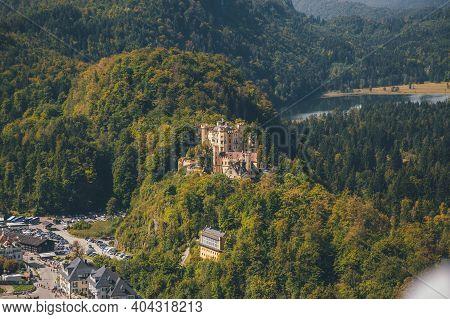 Hohenschwangau Castle Schloss Hohenschwangau . 19th-century Palace. Beautiful View Of Alpsee, With S