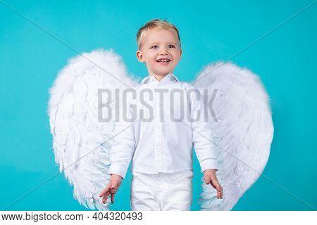 Smiling Little Boy Kid Dressed Like An Angel