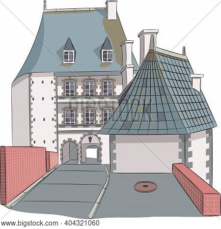 Old Medieval Stone French Castle In Normandy Isolated On White Background.