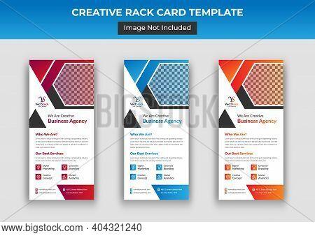 Business Rack Card Template, Corporate Dl Flyer Template Design