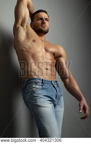 Bare Torso. Naked Male Body. Nude Guy. Sexy Muscular Man. Topless Fitnes Model. Nude Abs