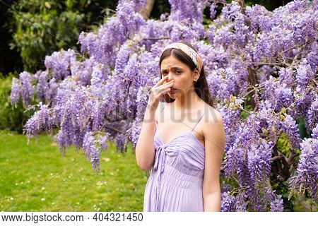 Spring Allergy Nose Sneezing. Allergic Symptoms. Woman Allergic To Blossom