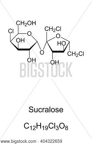Sucralose, Chemical Formula And Skeletal Structure. Artificial Sweetener And Sugar Substitute. E955,
