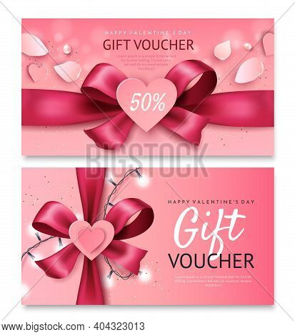 Valentine's Day Gift Voucher Template.bright Pink Bow With A Heart.