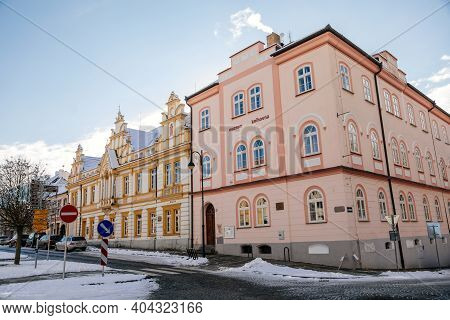 Narrow Picturesque Street With Renaissance Historical Baroque And Renaissance Buildings, Snow In Win
