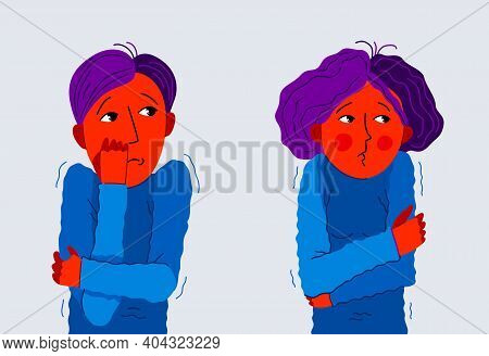 Scared Young Man And Woman Feeling Uncomfortable Vector Illustration, Phobia Paranoia Anxiety Or Oth