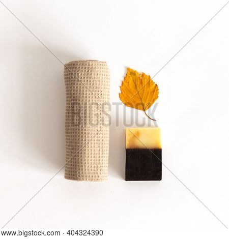 Tar Soap For Hand Washing. Body Care Spa Relaxation Cleansing Concept. Natural Products. Purity