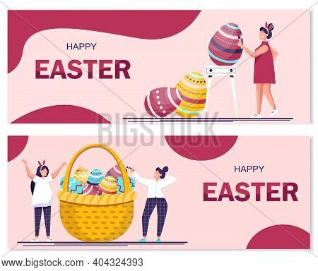 Set of Happy Easter banner vector illustration. People celebrate Easter and paint eggs.Happy easter background, easter design. Happy Easter, easter bunny, easter