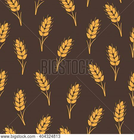 Seamless Vector Pattern With Ears Of Wheat. Grain Background For Bakery Products.
