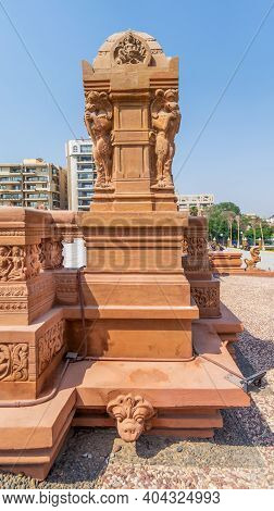 Cairo, Egypt- July 29 2020: 1945 Hindu Statue, One Of The Indonesian Statues Studding The External T