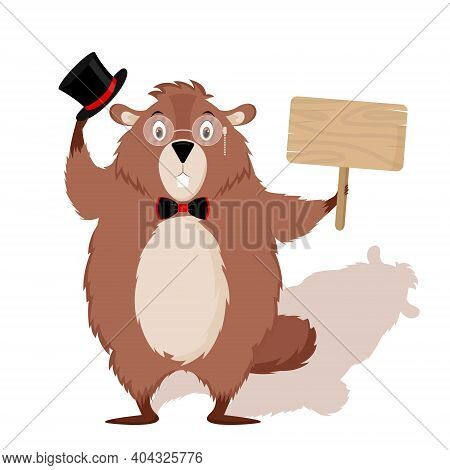 Happy Groundhog Day. Design With A Cute Groundhog Character That Pops Out Of A Hole. Vector Illustra
