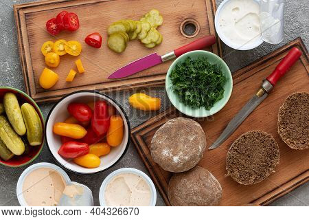 Cooking Vegetarian Spread Sandwiches With Vegetables, Top View
