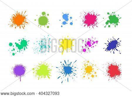 Paint Splashes. Grunge Colored Splatters. Blotter Spots. Liquid Paint Drip Drop Splash Set. Vector C